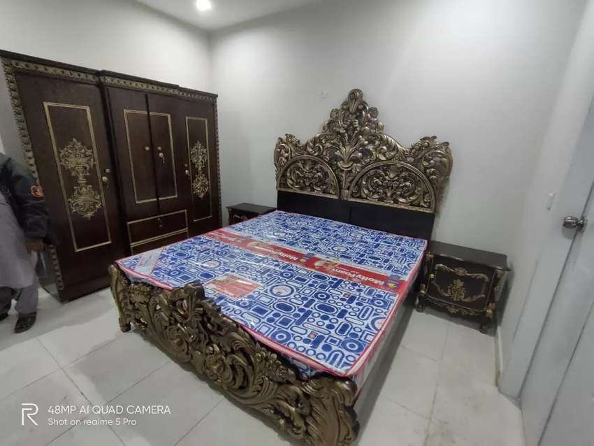 Stylish Pure Wood Carved complete bed set available for sale 0