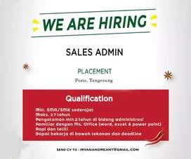 Lowongan sales admin