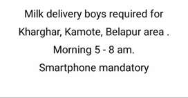 Milk delivery boys required 5-8am