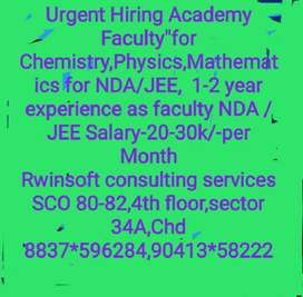 "Academy Hiring Faculty"" Chemistry,Physics,Maths for NDA/JEE,"