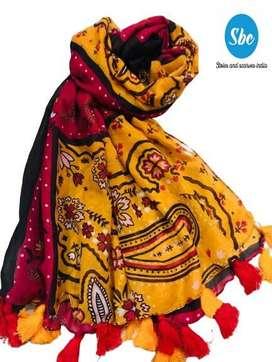 Womens printed shawl and hiajb
