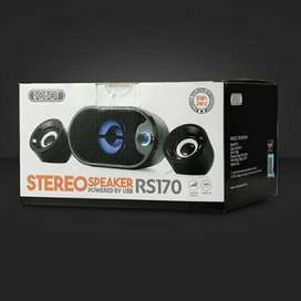 Speaker Komputer Stereo with LED Robot RS170 Speaker Laptop Solo Micr
