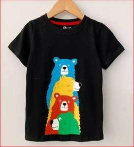 Kaos Anak Cowo Smilee Hitam Bear