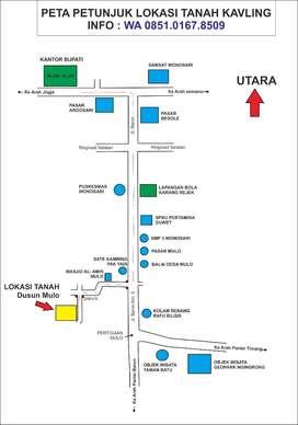 Tanah SHM dekat Jl Baron km 5,5 mulo Wonosari 120jt bisa dicicil 3x