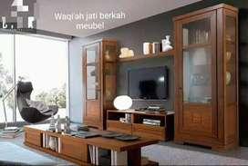 Bufet tv minimalis moderen, P. 300cm, bahan kayu jati tua asli