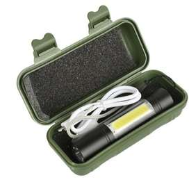 Senter XPE +COB mini police 1000 Lumen 3 Mode USB Rechargeable