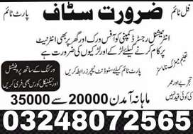 Lahore office base and Home base Work male and female
