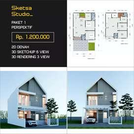 Desain Arsitek, Desain Interior, Gambar IMB, Rumah, Kantor, Kost dll