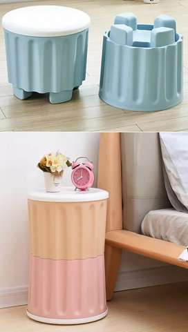 Storage Stool Organizer Seat Chair Box Multi use Table Home Office Sh