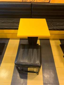 cash counter chairs table