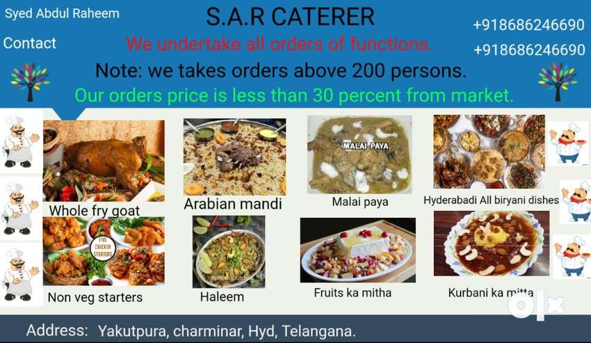 Catering orders of All functions parties 0