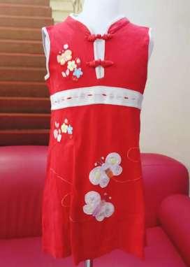 Dress ciongsam imlek anak LITTLE M Katun Usia 5-7 tahun murah
