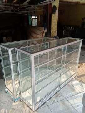 siap kirim etalase kaca serbaguna ukuran panjang 1,5  meter