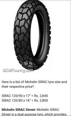 Michelin sirac 120/90 x 17 Tyre & Honda Unicorn Swing arm