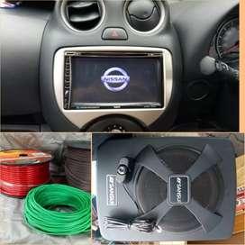 Paket Headunit tv Sub Kolong Jok for Nissan March