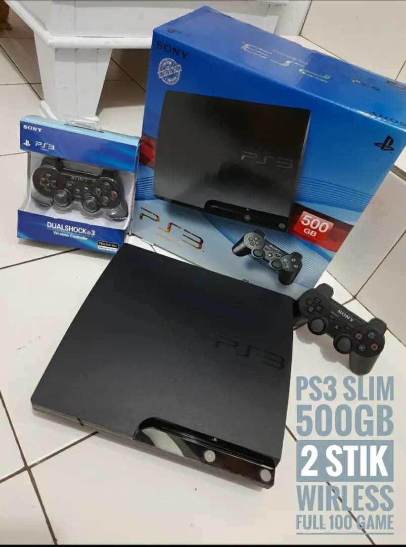 PS3/Slim 500GB FULLSET update 100 permainan + 2 Stik SONY 0
