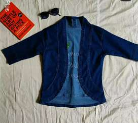 Stretchable Jeans Shrug with Embroidery Writting