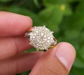 Cincin berlian ikat perak murni