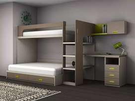 Bunk bed and study tables