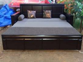 New wooden sofa cum bed with mattress with 2