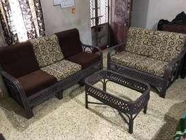 Sofa Set with Tepoy made of Cane