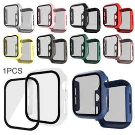 Clear 3D Tempered Glass Film PC Protective Case For Apple Watch 5 4 3