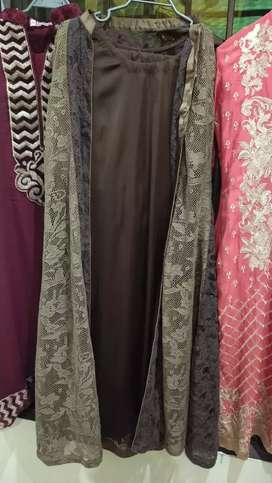 3 pc suit,inner: silk,gown :net .size:medium