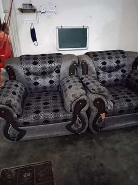 Full sofa set with glass table