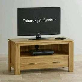Meja tv minimalis slim moderen laci 2, P. 100cm, kayu jati asli 100%