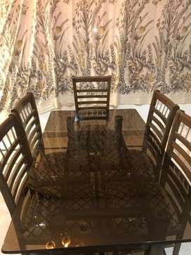 Dining Table with 6 Chairs and 10mm Black coated Glass 10/10