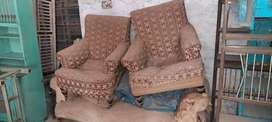 Old teak wood sofa