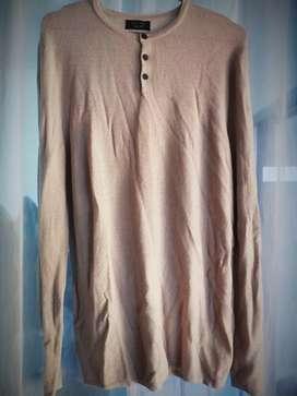 Sweater Ringan Rajutan, Branded, Merek : ZARA MAN, Warna : Light Cream
