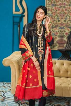 Winter linen embroidered dress same to same with free delivery