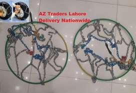 Snow Chain Pair Type 450 12mm Steel For 15 16 17 Inch Wheels MT AT
