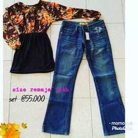 Baju 1 set celana seken import remaja