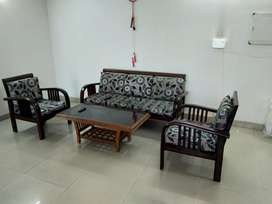 5 Seater Wooden Sofa Set with Glass Center Table