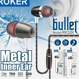 ORIGINAL ROKER BULLET RK32K Earset Metal Inner Ear Headset Microphone