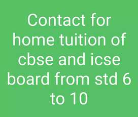 Home tuition available from class 6 to 10
