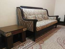 7 Seater Sofa with 3 wooden tables, 2 single beds