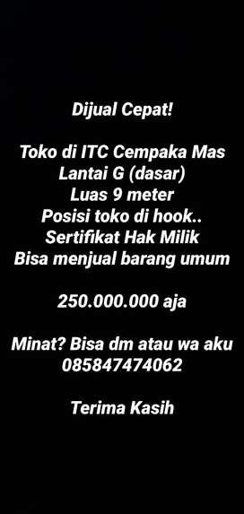 Dijual Cepat Toko Murah di ITC Cempaka Mas