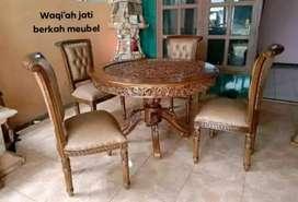 Meja makan bundar ukiran mewah kursi 4, bahan kayu jati tua terbaik