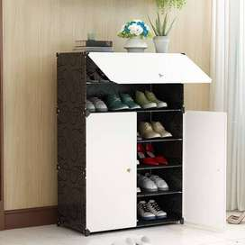 6 Cubic DIY Black Folding/Portable Plastic Shoe rack/Storage Cabinet/S
