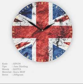 Jam Dinding Bulat KAYYA Motif Bendera Inggris [KP038]