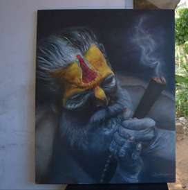 Aghori oil painting for home decoration