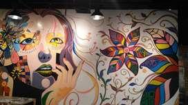 mural face painting dan siluet wajah
