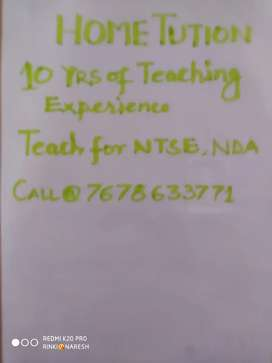 Home Tutor 10 Yrs of teaching Experience