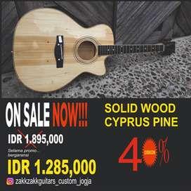 Gitar Akustik Jumbo solid wood cypruce pine bukan playwood