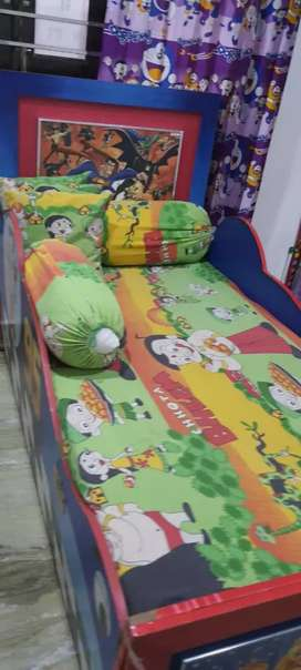1 year old cartoon characters bed with almira and one study table