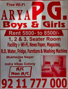 Pg hostel in parmanand colony for boys and girls