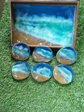 Trays with coasters
